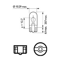 Лампа 24V W3W24V 3W W2,1X9,5d (пр-во Philips)