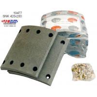 Накладка колодки тормозной барабанного механизма 420х200 станд. SAF (пр-во SAF)